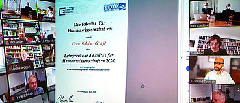 Photo of the 2020 virtual award ceremony (photo: Faculty of Human Sciences, University of Würzburg)